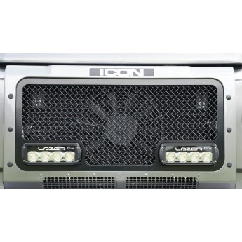 Lazer: LandRover Defender - Upper Grille with RS4 Lights - Silver finish