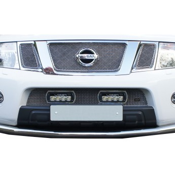 Lazer: Nissan Navara - Lower Grille with ST4 Lights - Silver finish