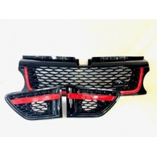 Range Rover Sport (L320) Black Grille with Red Trim 3 Piece Set - Autobiogrophy look