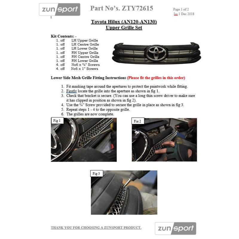 Toyota Hilux (AN120 / AN130) - Upper Grille Set