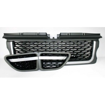 Range Rover Sport (L320) Grey and Black Grille with Silver Trim 3 Piece Set