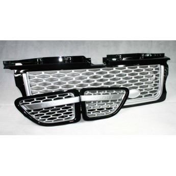 Range Rover Sport (L320) Gloss Black Grille with Silver Mesh 3 Piece Set